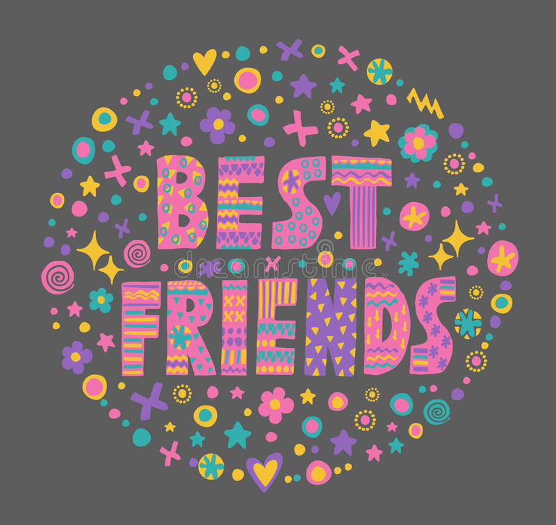 Meilleurs amis d'art de Word illustration de vecteur
