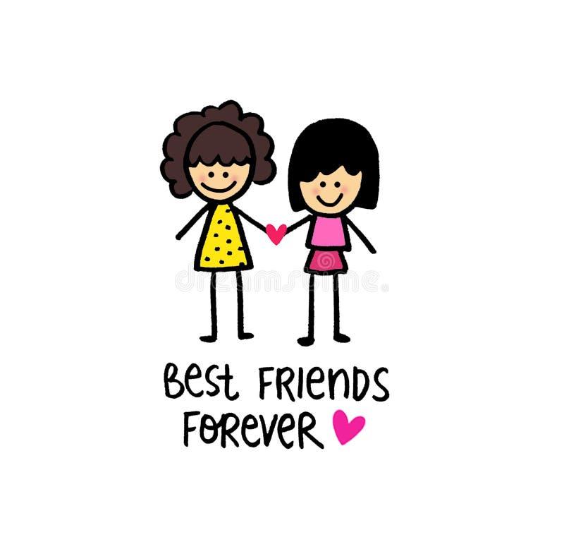 Meilleurs amis heureux pour toujours filles illustration de vecteur