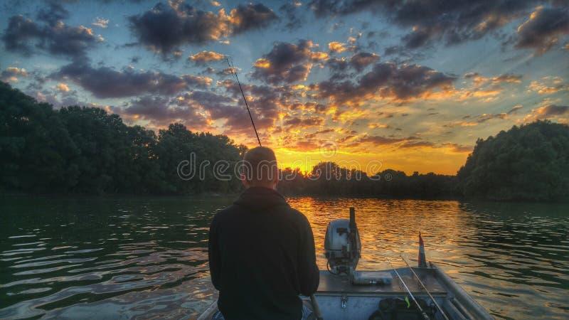 Mein Fischen auf Donau lizenzfreies stockbild