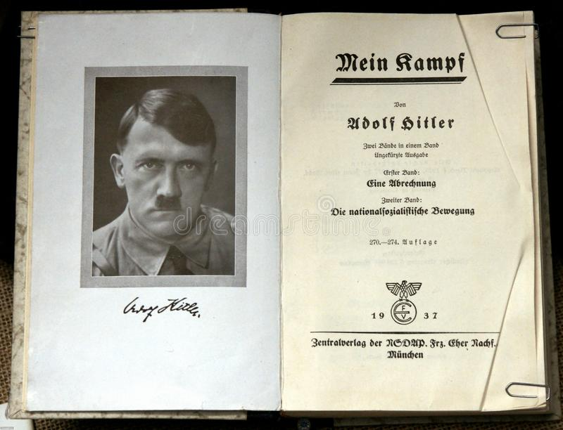 Mein Kampf. A copy of Adolf Hitler's book Mein Kampf (My Struggle) with a portrait of the author is at display at the Sinsheim (Germany)
