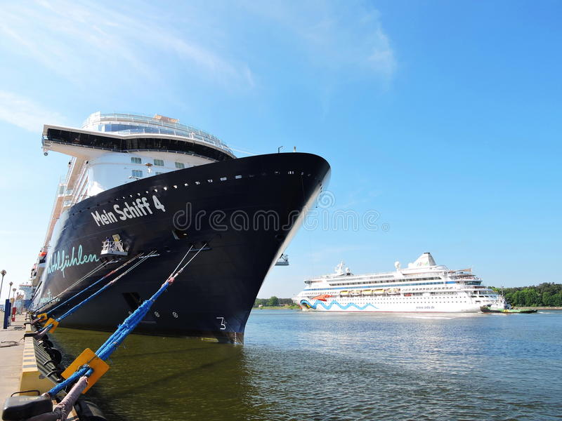 Mein Schiff 4 and AIDA vita Cruise ships. In Klaipeda harbour, Lithuania stock photos