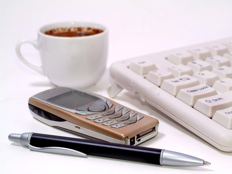 Download Mein Schreibtisch stockbild. Bild von büro, braun, telefon - 34981