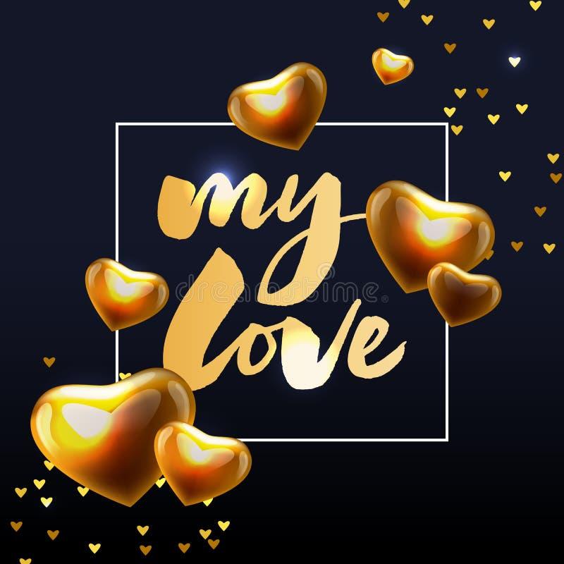 meine Liebeshandbeschriftung -- handgemachte Kalligraphiesloganbürsten-Tintenillustration lizenzfreie abbildung
