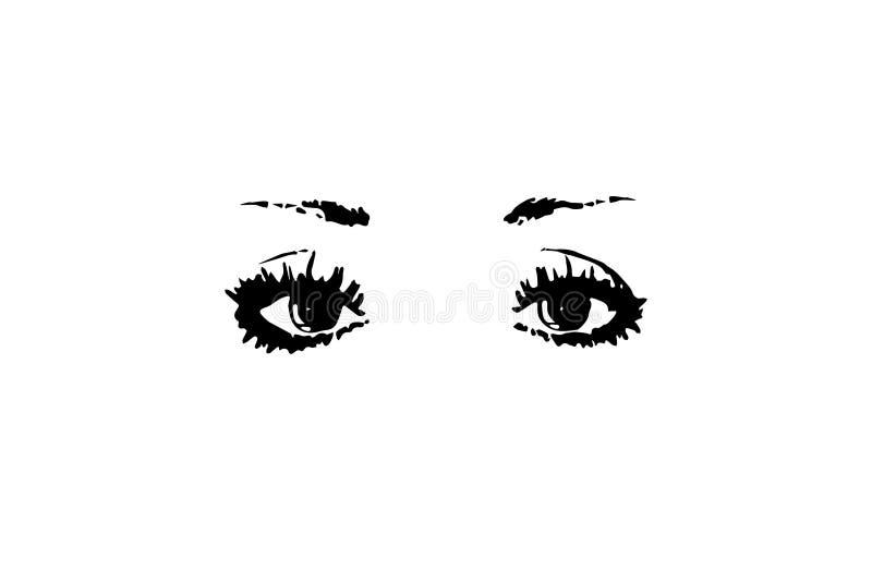 Meine schönen Augen auf einem weißen Hintergrund lizenzfreie abbildung