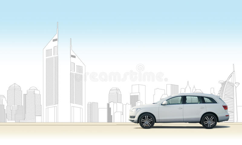 Meine Stadt mein Auto (Dubai) stock abbildung