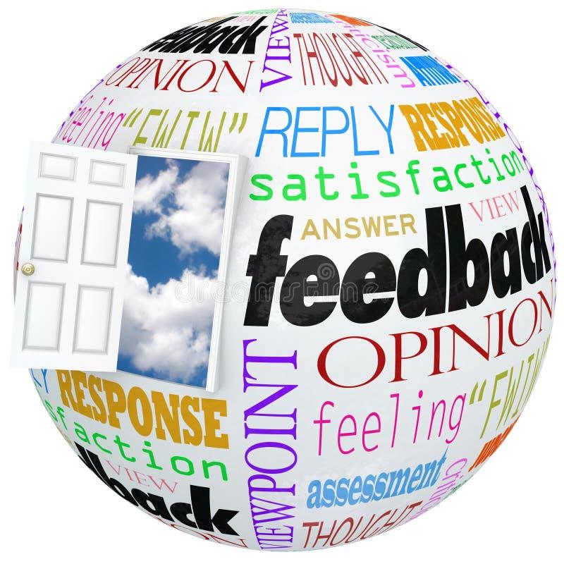 Meinungs-Bericht-Bewertungs-Kommentare der Feedback-Kugel-offenen Tür lizenzfreie abbildung