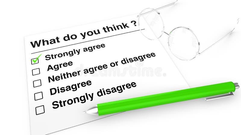 Meinungsumfragepapier, -stift und -gläser vektor abbildung