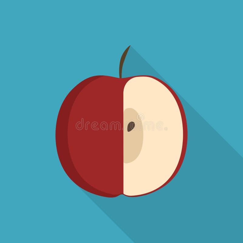 Meio ícone vermelho da maçã no projeto longo liso da sombra ilustração stock