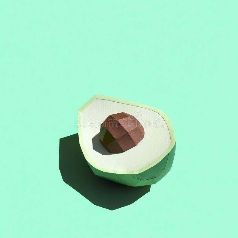 Meio abacate de papel com a semente na luz do sol brilhante imagem de stock