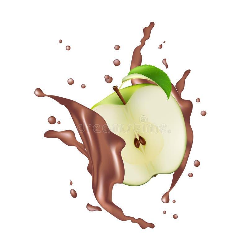 Meio Apple verde frutifica chocolate de leite Juice Yogurt Splash Illust ilustração do vetor