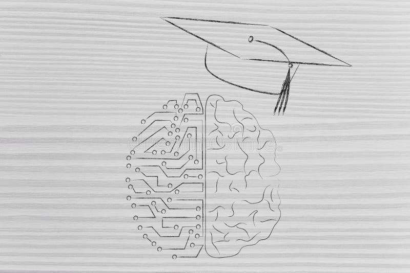 Meio meio cérebro humano digital com o tampão do almofariz da graduação, gênio ilustração royalty free