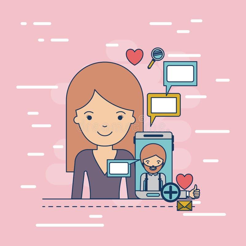 Meio corpo da mulher com ícones da aplicação dos multimédios em uma comunicação com o homem no smartphone da tecnologia do dispos ilustração do vetor