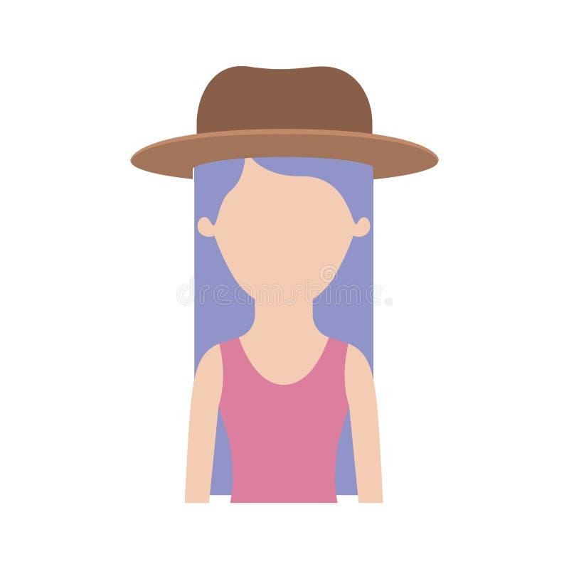 Meio corpo da mulher sem cara com cabelo reto sem mangas e longo do chapéu e do t-shirt na silhueta colorida ilustração do vetor