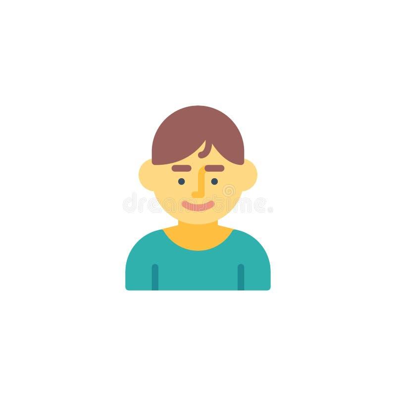 Meio corpo do ícone liso do retrato masculino ilustração stock