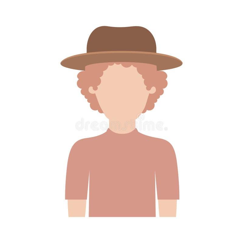 Meio corpo do homem sem cara com chapéu e t-shirt com cabelo encaracolado na silhueta colorida ilustração stock