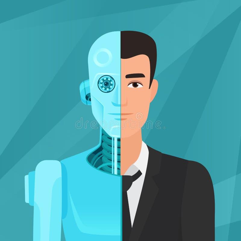 Meio cyborg, meio homem de negócios humano do homem na ilustração do vetor do terno ilustração royalty free