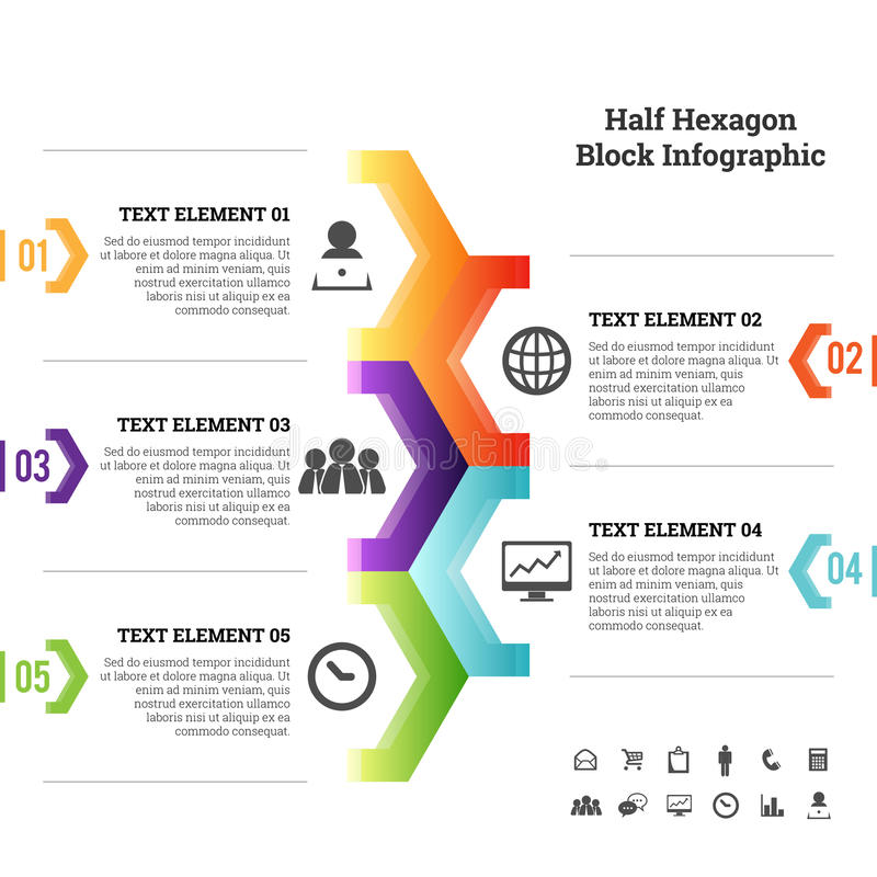 Meio elemento de Infographic do bloco do hexágono ilustração do vetor