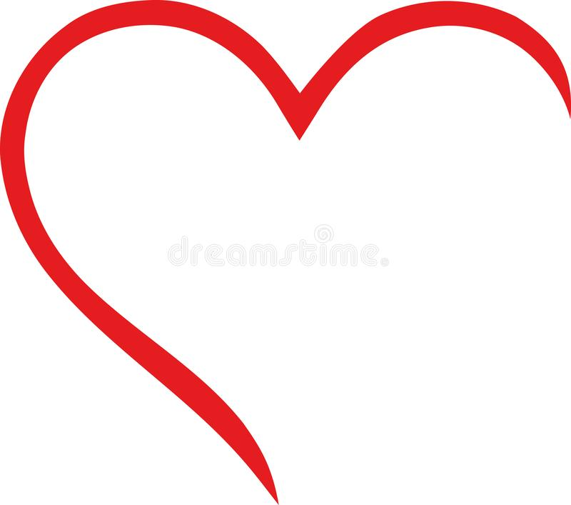 Meio esboço do coração ilustração stock