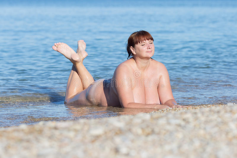 Naked Middle Aged Woman On Beach Stock Photo 75651358