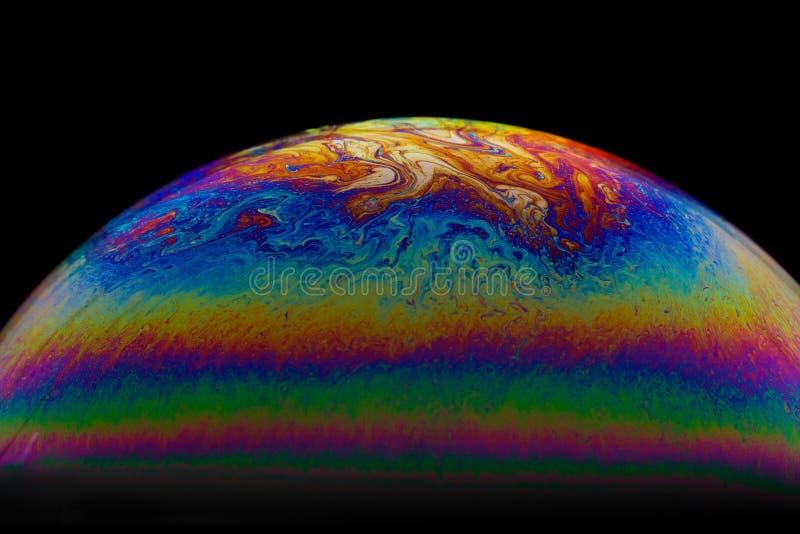 Meio fundo do sumário da bola da bolha de sabão Modelo do universo do espaço ou dos planetas cósmico fotografia de stock