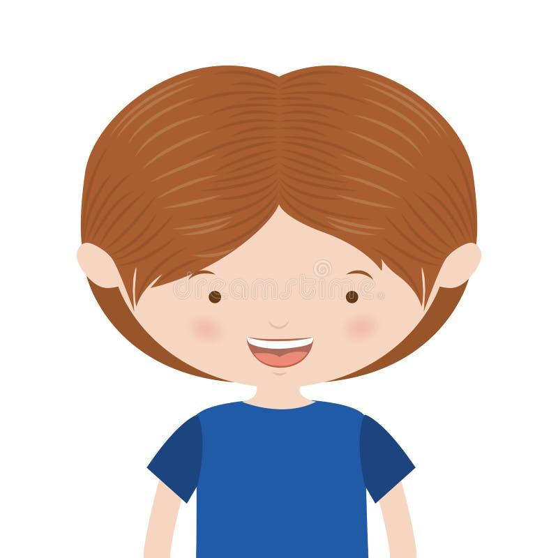 meio menino do cabelo do marrom do corpo com t-shirt ilustração stock