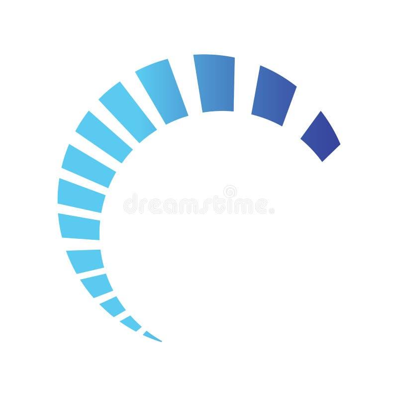 Meio projeto do vetor do swoosh da carga do círculo em máscaras azuis da cor ilustração royalty free