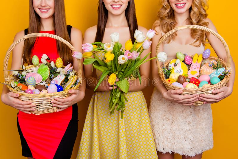 Meio retrato colhido de três atrativos, HOL bonito da cara das meninas imagens de stock