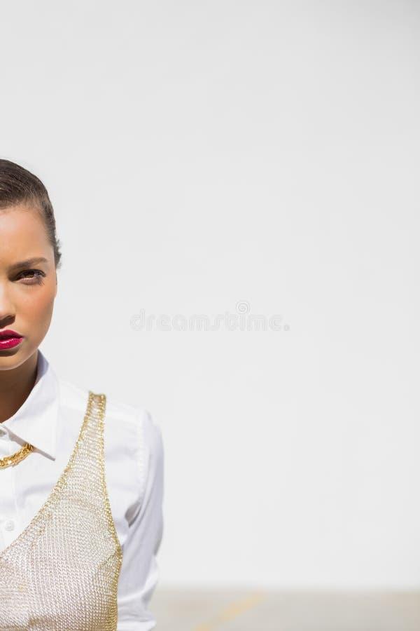 Meio retrato do modelo glamoroso com levantamento vermelho dos bordos foto de stock