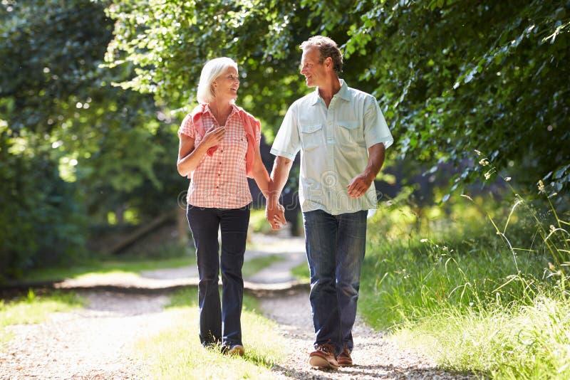 Meio romântico pares envelhecidos que andam ao longo do trajeto do campo