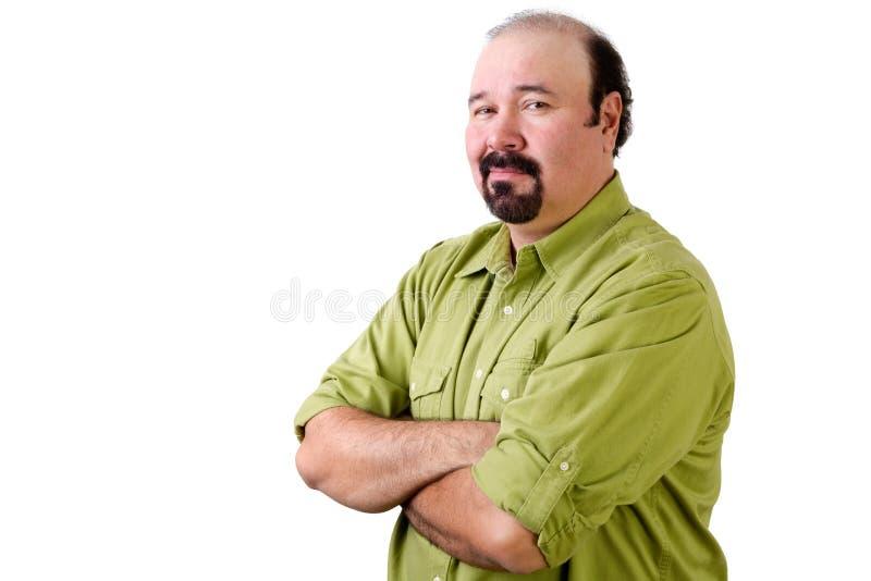 Meio seguro homem envelhecido que olha sobre o ombro fotos de stock