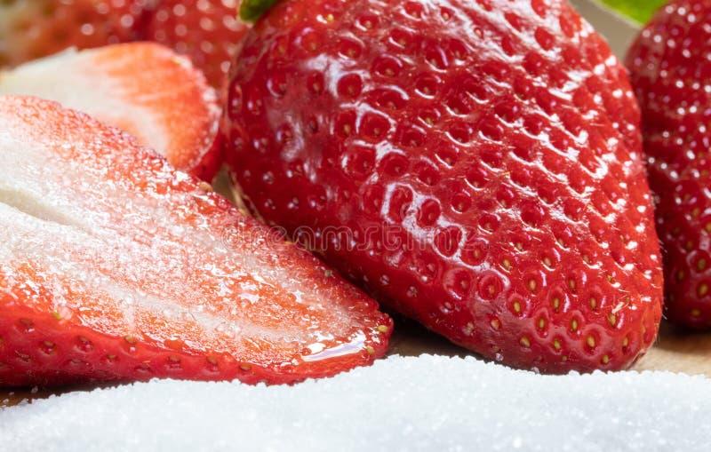 meio sweetness Morango Vermelho açúcar Frutas fotografia de stock royalty free