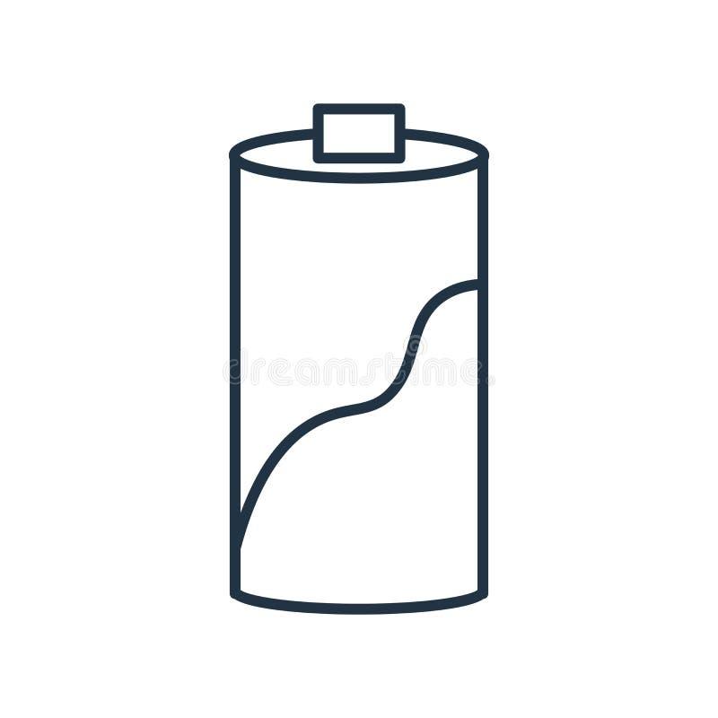 Meio vetor do ícone da bateria isolado no fundo branco, meio sinal da bateria ilustração do vetor