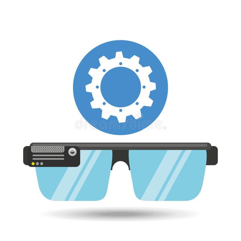 Meios da aplicação da engrenagem da tecnologia dos vidros ilustração stock