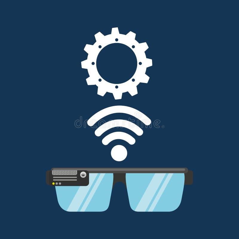 Meios da aplicação da engrenagem da tecnologia dos vidros ilustração do vetor
