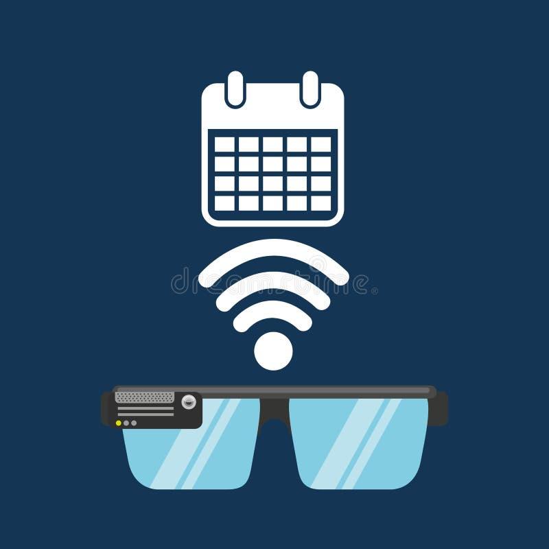 Meios da aplicação do calendário da tecnologia dos vidros ilustração stock