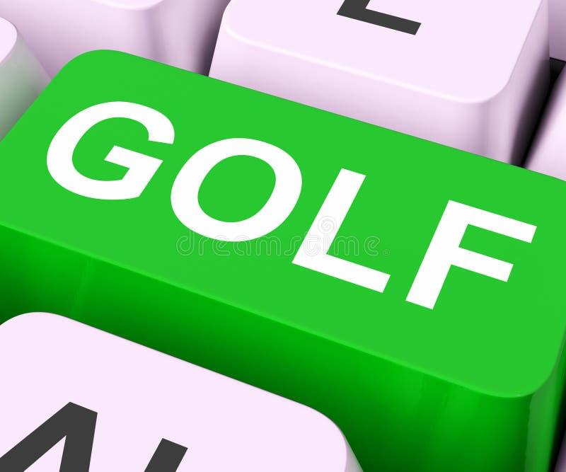 Meios da chave do golfe que Golfing em linha ou jogador de golfe ilustração royalty free