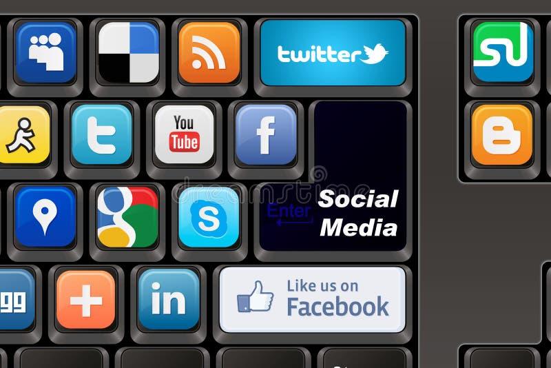 Meios do Social do teclado ilustração royalty free