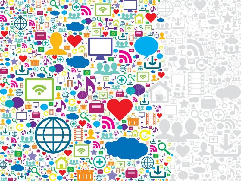 Meios do teste padrão sem emenda e ícones sociais da tecnologia
