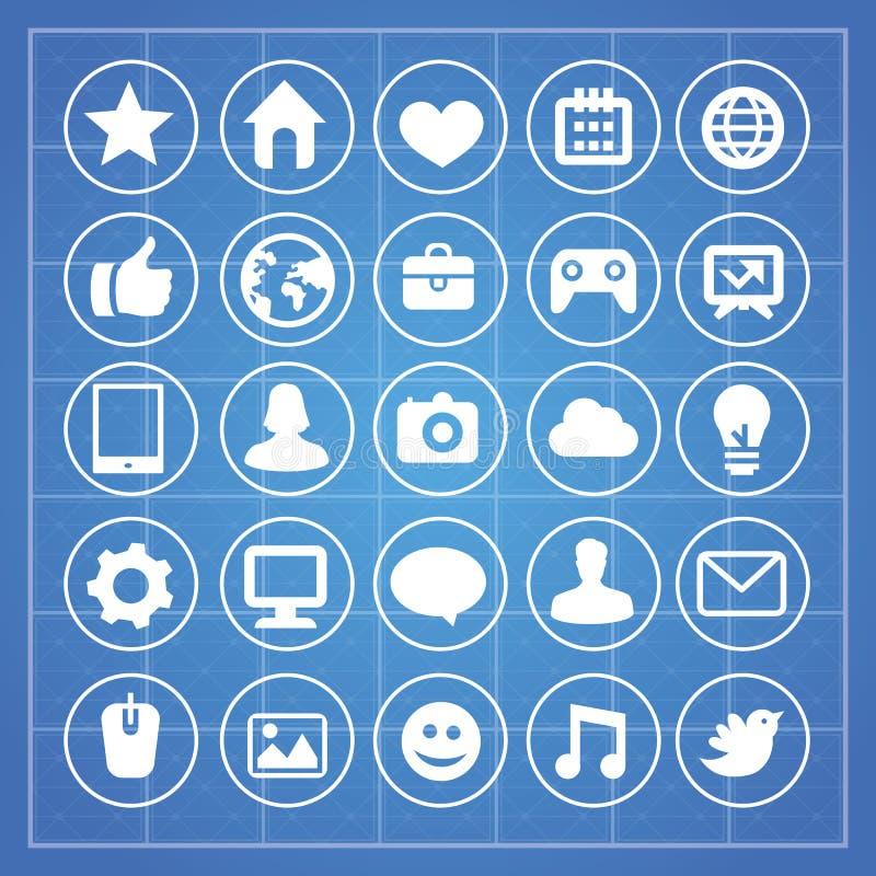 Meios do vetor e sinais sociais da tecnologia ilustração royalty free