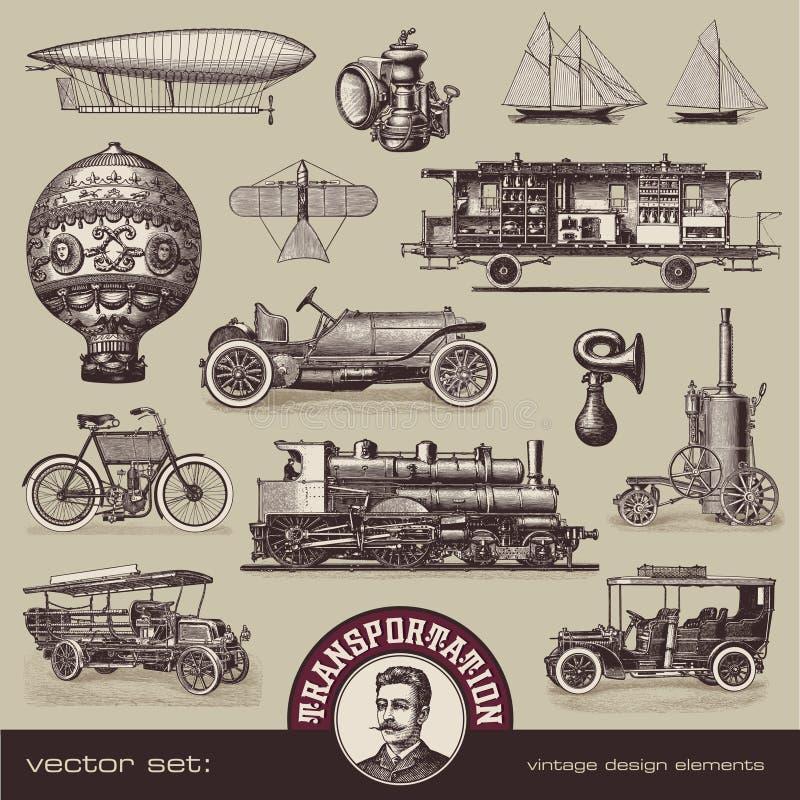 Meios do vintage de transporte ilustração do vetor
