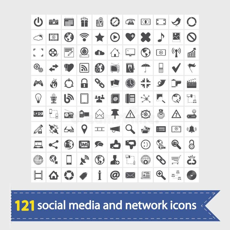 Meios e ícones sociais da rede ilustração do vetor