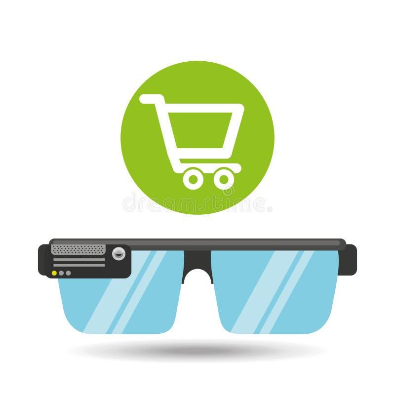Meios em linha da aplicação da loja da tecnologia dos vidros ilustração do vetor