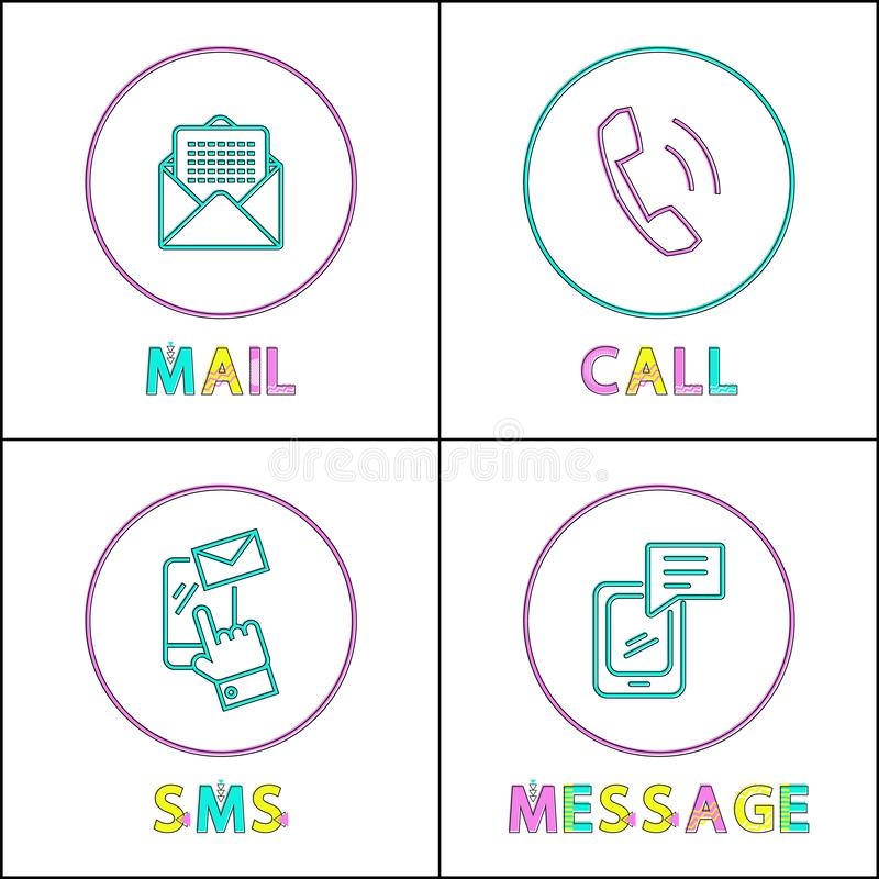 Meios modernos do grupo do ícone do esboço de uma comunicação ilustração do vetor