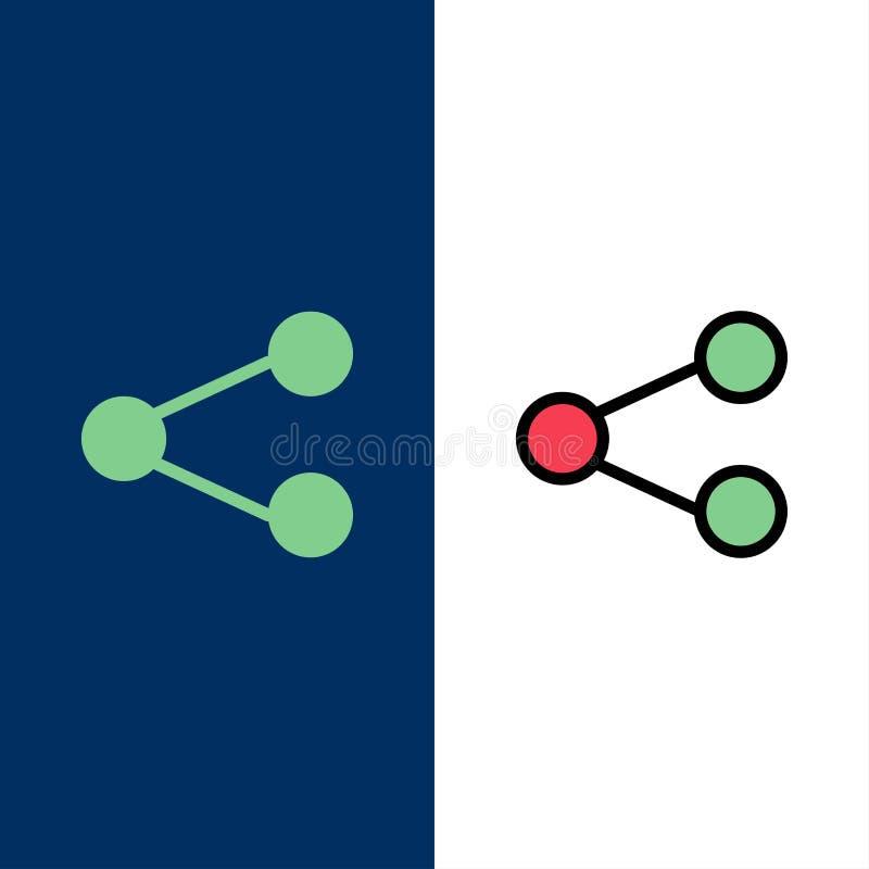 Meios, parte, social, compartilhando de ícones O plano e a linha ícone enchido ajustaram o fundo azul do vetor ilustração royalty free
