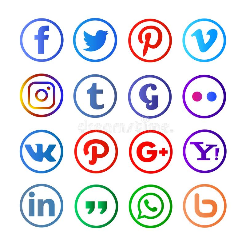 Meios sociais arredondados e colorfull