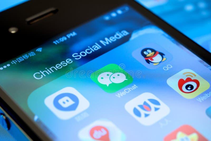 Meios sociais chineses imagens de stock royalty free