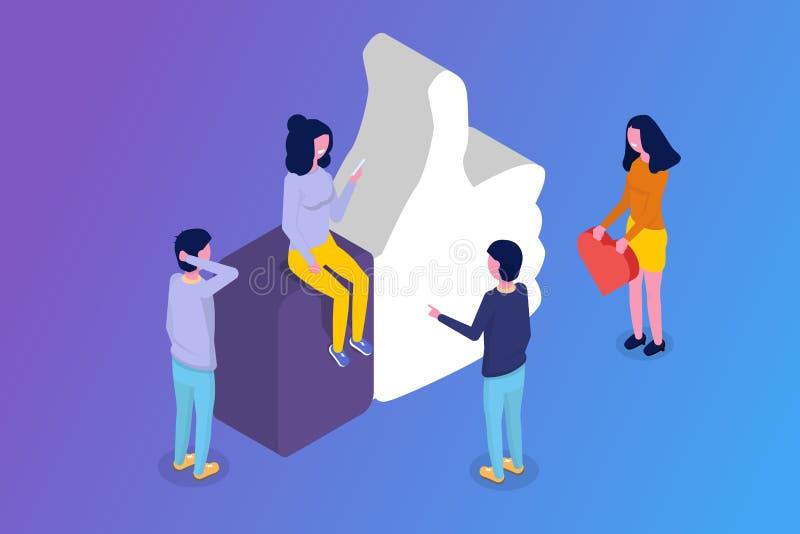 Meios sociais, conceito isométrico dos trabalhos em rede ilustração stock