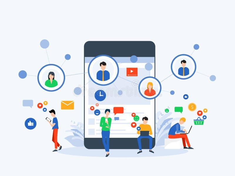 Meios sociais da ilustração lisa do vetor e conceito em linha de mercado digital da conexão ilustração do vetor