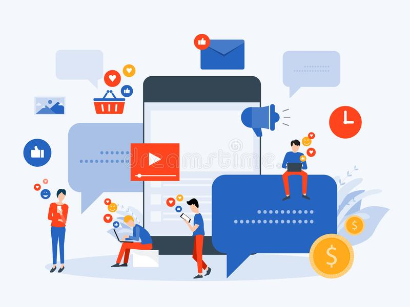 Meios sociais da ilustração lisa do vetor e conceito em linha de mercado digital da conexão ilustração royalty free