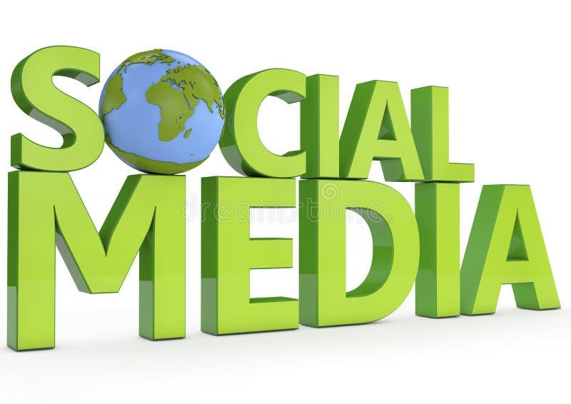 meios sociais da palavra 3d no fundo branco fotografia de stock royalty free